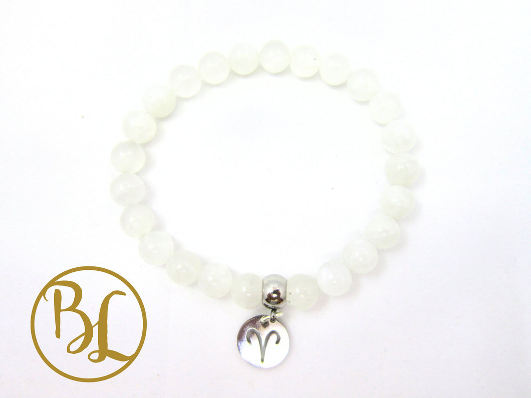Aries Charm CHOOSE your ARIES GEMSTONE Bracelet Aries Zodiac Bracelet Aries March Mala April