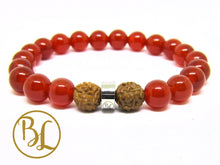 Load image into Gallery viewer, Natural Carnelian Mala Orange Gemstone Bracelet Carnelian Gemstone Yoga Mala Bracelet Carnelian