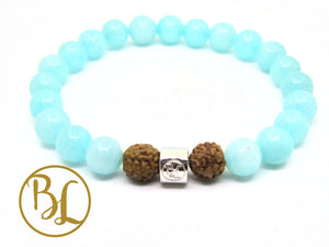 Amazonite Natural 925 Sterling Silver Bracelet Third Eye Chakra Aqua Bracelet  Blue Bracelet