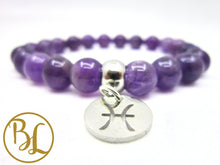 Load image into Gallery viewer, Pisces Charm Bracelet Piscis Zodiac Bracelet Pisces Gemstone Mala Pisces February March Zodiac