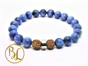 Natural  Kyanite Mala Blue Gemstone Bracelet Kyanite Mala Throat Chakra Mala Meditation Yoga Healing Aligns Aura Bracelet Spiritual Mala