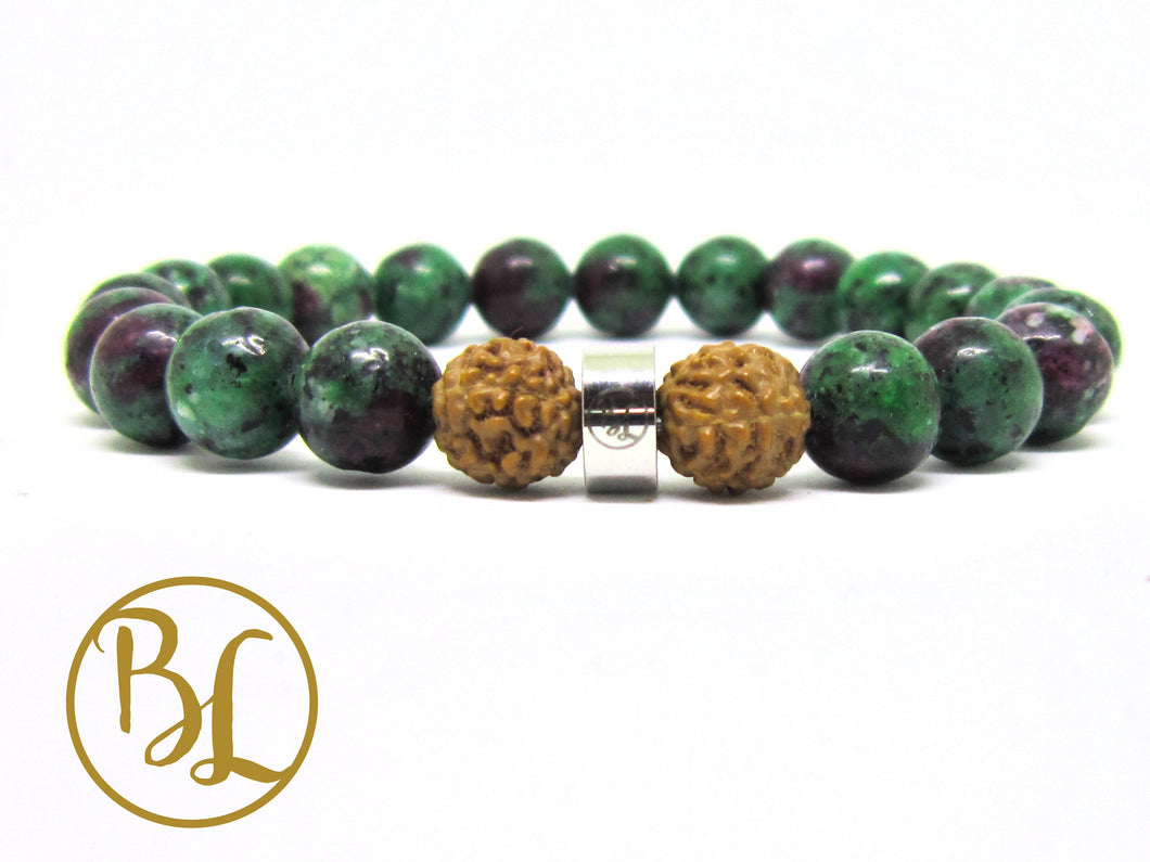 Natural  Ruby in Zoisite 316 Stainless Steel Charm Bracelet Green & Ruby Bracelet, Gemstone