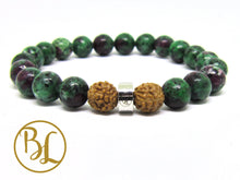 Load image into Gallery viewer, Natural  Ruby in Zoisite 316 Stainless Steel Charm Bracelet Green & Ruby Bracelet, Gemstone