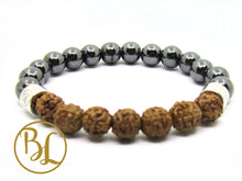 Load image into Gallery viewer, Natural  Hematite Rudraksha 925 Mala Magnetic Bracelet Hematite Mala Hematite Meditation Yoga