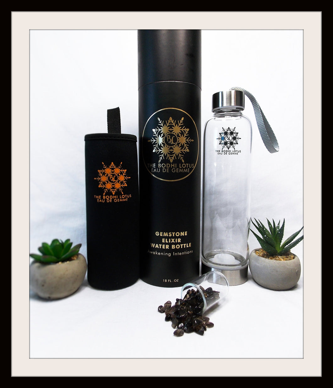 SMOKY QUARTZ Eau De Gemme Balance Smoky Quartz Gemstone Elixir Water Bottle Smoky Quartz Bottle