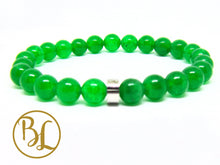 Load image into Gallery viewer, Genuine Green Jade Mala Heart Chakra Bracelet Green Stone Bracelet Green Jade Yoga Mala Green