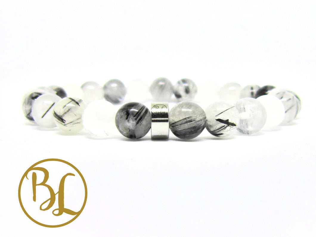 Natural   Rutilated Quartz Bracelet Black  White Quartz Bracelet Gemstone Mala Rutilated Quartz