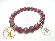 Load image into Gallery viewer, Pink Tourmaline CHOOSE YOUR CHARM Bracelet Pink Tourmaline Mala Chakra Charm Bracelet Mala
