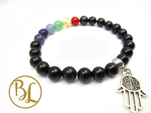 Load image into Gallery viewer, Black Tourmaline 7 Chakra CHOOSE YOUR CHARM Bracelet Chakra Black Tourmaline Mala Chakra Charm