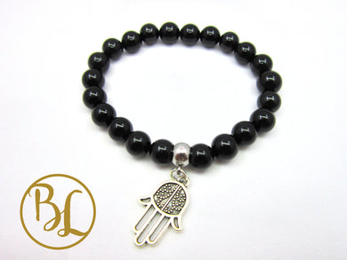 Black Tourmaline CHOOSE YOUR CHARM Bracelet Black Tourmaline Mala Chakra Charm Bracelet Mala