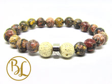 Load image into Gallery viewer, Genuine Leopardskin Jasper Pink Spotted Gemstone Mala LeopardSkin Jasper Bracelet Jaguar Stone