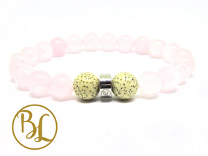 Natural  Rose Quartz  Stainless Steel Charm Bracelet Rose Quartz Bracelet Rose Quartz Gemstone