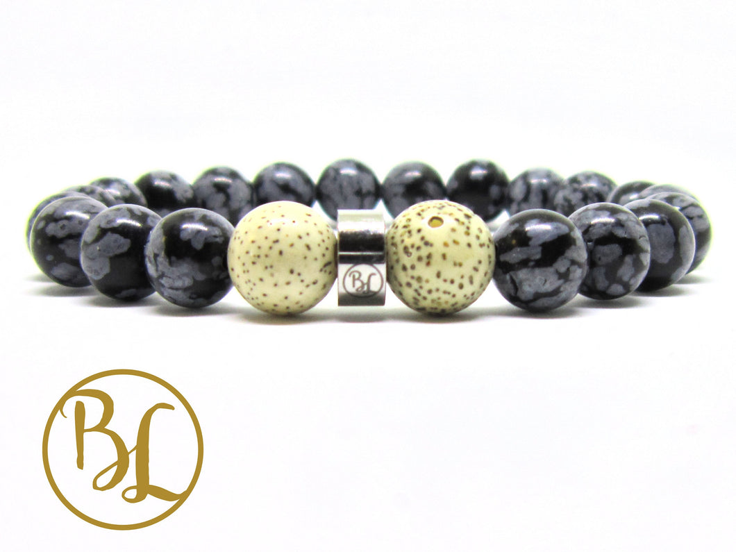 Natural  Snowflake Obsidian Bracelet Root Chakra Mala Snowflake Obsidian Detox Bracelet