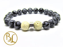 Load image into Gallery viewer, Natural  Snowflake Obsidian Bracelet Root Chakra Mala Snowflake Obsidian Detox Bracelet