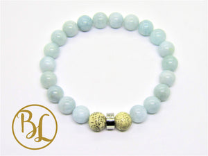 Natural  Aquamarine Bracelet Blue Gemstone Bracelet Aquamarine Mala Bracelet Throat 5th Chakra Mala Meditation Yoga Healing Fertility Bracelet