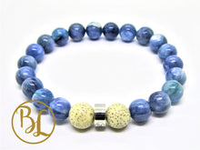 Load image into Gallery viewer, Natural  Kyanite Bracelet Blue Gemstone Mala Kyanite Mala Throat Chakra Mala Meditation Yoga Healing Aligns Aura Bracelet Spiritual Mala