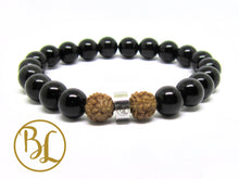 Load image into Gallery viewer, Natural Black Onyx Bracelet Black Gemstone Mala Bracelet Onyx Bodhi Lotus Yoga Bracelet Onyx
