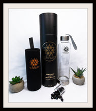 Load image into Gallery viewer, BLACK TOURMALINE Eau De Gemme Protection Elixir Water Bottle Tourmaline Gemstone Water Bottle