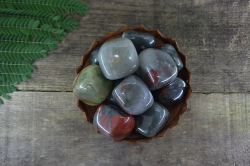 BLOODSTONE Gemstone 3 Piece Set Healing Bloodstone Crystals Bloodstone Intention Lithiotherapy