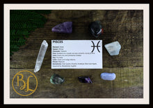 Load image into Gallery viewer, PISCES Gemstone Kit 7 Zodiac Pisces Gemstones Set Crystals Pisces Intention Lithiotherapy