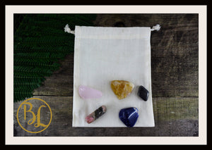 SELF ESTEEM Gemstone Kit 5 Healing Self Esteem Crystals Stone Set Intention Lithiotherapy