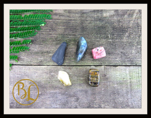 DIGESTION Gemstone Kit 5 Digestion Stones & Crystals Healing Disgestion Intention Lithiotherapy