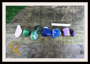LUNGS Gemstone Kit 7 Healing lungs Gemstone Set Healing Crystals Lungs Intention Lithiotherapy