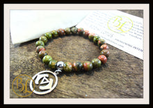 Load image into Gallery viewer, Unakite CHOOSE YOUR CHARM  Mala Bracelet Unakite Mala Charm Bracelet Unakite Meditation