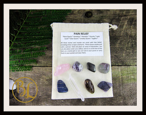 PAIN RELIEF Gemstone Kit Healing Pain Relief Gemstone Crystal Healing Intention Lithiotherapy