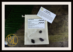AQUARIUS Gemstone Kit 4  Zodiac Aquarius Set Healing Crystals Aquarius Intention Lithiotherapy