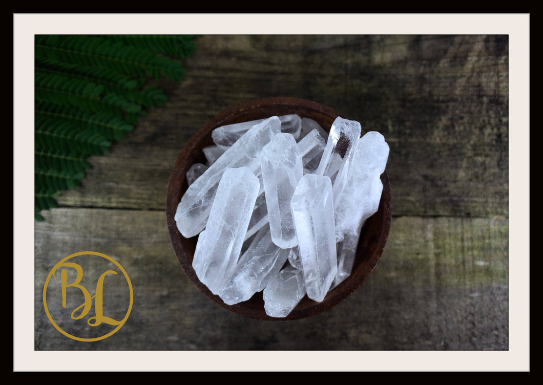CLEAR QUARTZ POINTS Gemstone 3 Piece Set Healing Clear Quartz Crystals Intention Lithiotherapy