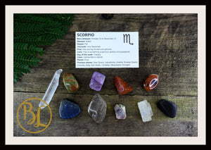 SCORPIO Gemstone Kit 10 Zodiac Scorpio Gemstone Healing Crystal Scorpio Intention Lithiotherapy