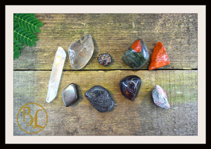 ROOT CHAKRA Gemstone Kit 9 Healing  Base Chakra Gemstone Crystals Stone Intention Lithiotherapy