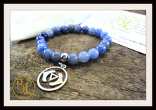 Load image into Gallery viewer, Blue Aventurine CHOOSE YOUR CHARM Mala Bracelet Blue Aventurine Charm Mala Bracelet Meditation