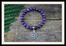 Load image into Gallery viewer, Lepidolite CHOOSE YOUR CHARM  Mala Bracelet Lepidolite Mala Charm Bracelet Lepidolite Meditation Yoga Bracelet Lepidolite Charm Bracelet