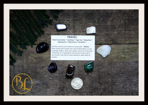 TRAVEL Gemstone Kit 7 Healing Travel Gemstone Set Healing Crystals Stones for Travel Healing Intention Stones Lithiotherapy Travel Crystals