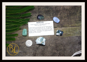 MERCURY Gemstone Kit 5 Healing Mercury Gemstone Set Healing Crystal Stones for Planet Mercury Healing Intention Stone Lithiotherapy Mercury