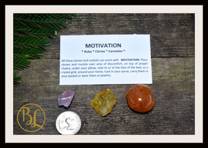 MOTIVATION Gemstone Kit 3 Healing Motivation Gemstone Set Healing Crystals Stones for Motivation Healing Intention Stones Lithiotherapy