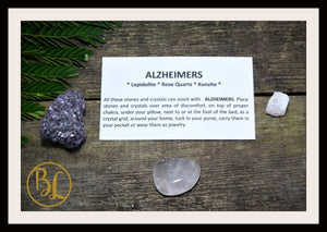 ALZHEIMERS Gemstone Kit 3 Healing Alzheimers Gemstone Set Healing Crystals Stones for Alzheimers Healing Intention Stones Lithiotherapy