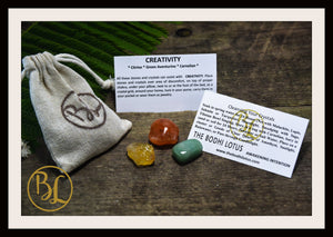 CREATIVITY Gemstone Kit 3 Healing Creativity Gemstone Set Healing Crystals Stones for Creativity Healing Intention Stones Lithiotherapy