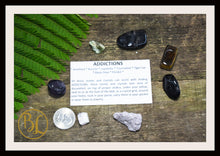 Load image into Gallery viewer, ADDICTIONS Gemstone Kit 7 Healing Addictions Gemstone Set Healing Crystals Stones Addiction Healing Intention Stones Lithiotherapy Addiction