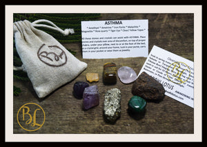 ASTHMA Gemstone Kit 8 Healing Asthma Gemstone Set Healing Crystals Stones for Asthma Healing Intention Stones Lithiotherapy ASthma Stone Kit