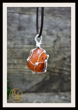 Load image into Gallery viewer, Carnelian 925 Sterling Silver Wire Pendant and 2mm Leather Cord Choose your leather Cord Carnelian Pendant Necklace Carnelian Silver Pendant