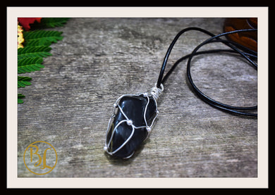 Black Onyx 925 Sterling Silver Wire Pendant Leather Cord Choose your leather Cord Polished Black Onyx Pendant Necklace Black Onyx Pendant