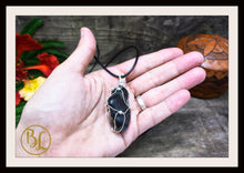 Load image into Gallery viewer, Black Onyx 925 Sterling Silver Wire Pendant Leather Cord Choose your leather Cord Polished Black Onyx Pendant Necklace Black Onyx Pendant