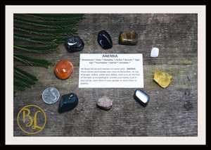 ANEMIA Gemstone Kit 9 Healing Anemia Gemstone Set Healing Crystals Stones Anemia Healing Intention Stones Lithiotherapy Anemia Crystals