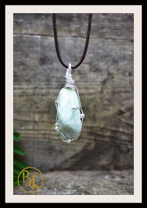 Amazonite 925 Sterling Silver Wire Pendant  2mm Leather Cord Choose your leather Cord Polished Amazonite Pendant Necklace Amazonite Pendant