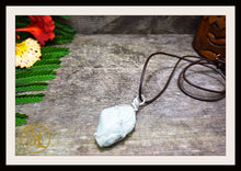 Load image into Gallery viewer, Amazonite 925 Sterling Silver Wire Pendant  2mm Leather Cord Choose your leather Cord Polished Amazonite Pendant Necklace Amazonite Pendant