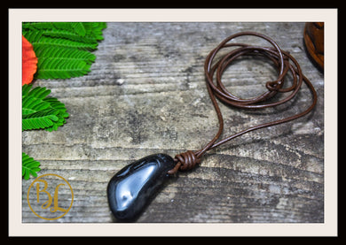 Black Onyx Pendant Leather Cord Choose your 2mm leather Cord Polished Black Onyx Pendant Necklace Black Onyx Pendant