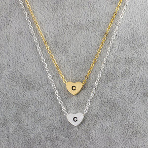 Small Letters c Necklace Gold Color Initial Pendant Chain Stainless Steel Heart c Necklaces Women Men English Letter Jewelry